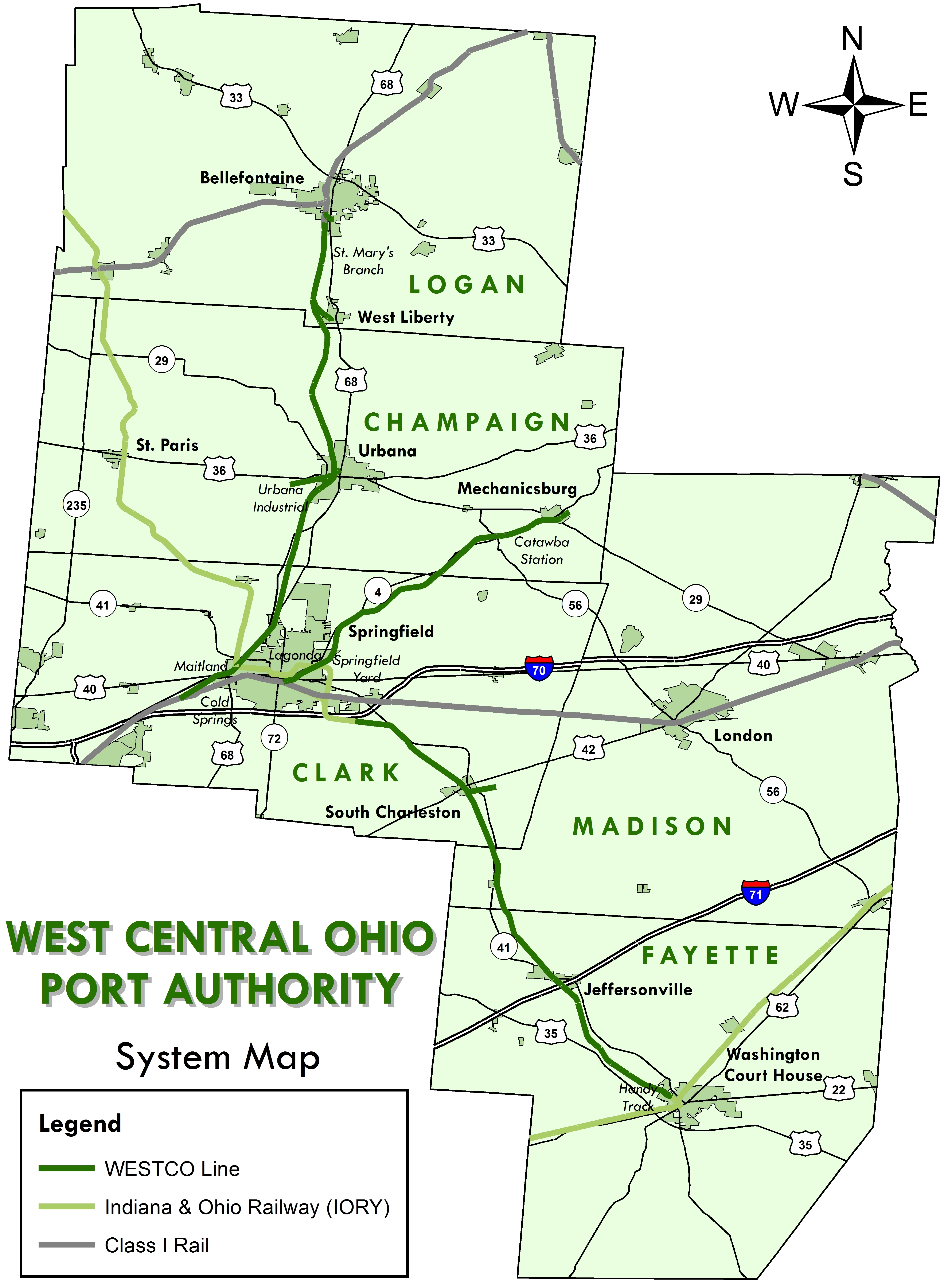 West Central Ohio Port Authority - Central ohio map